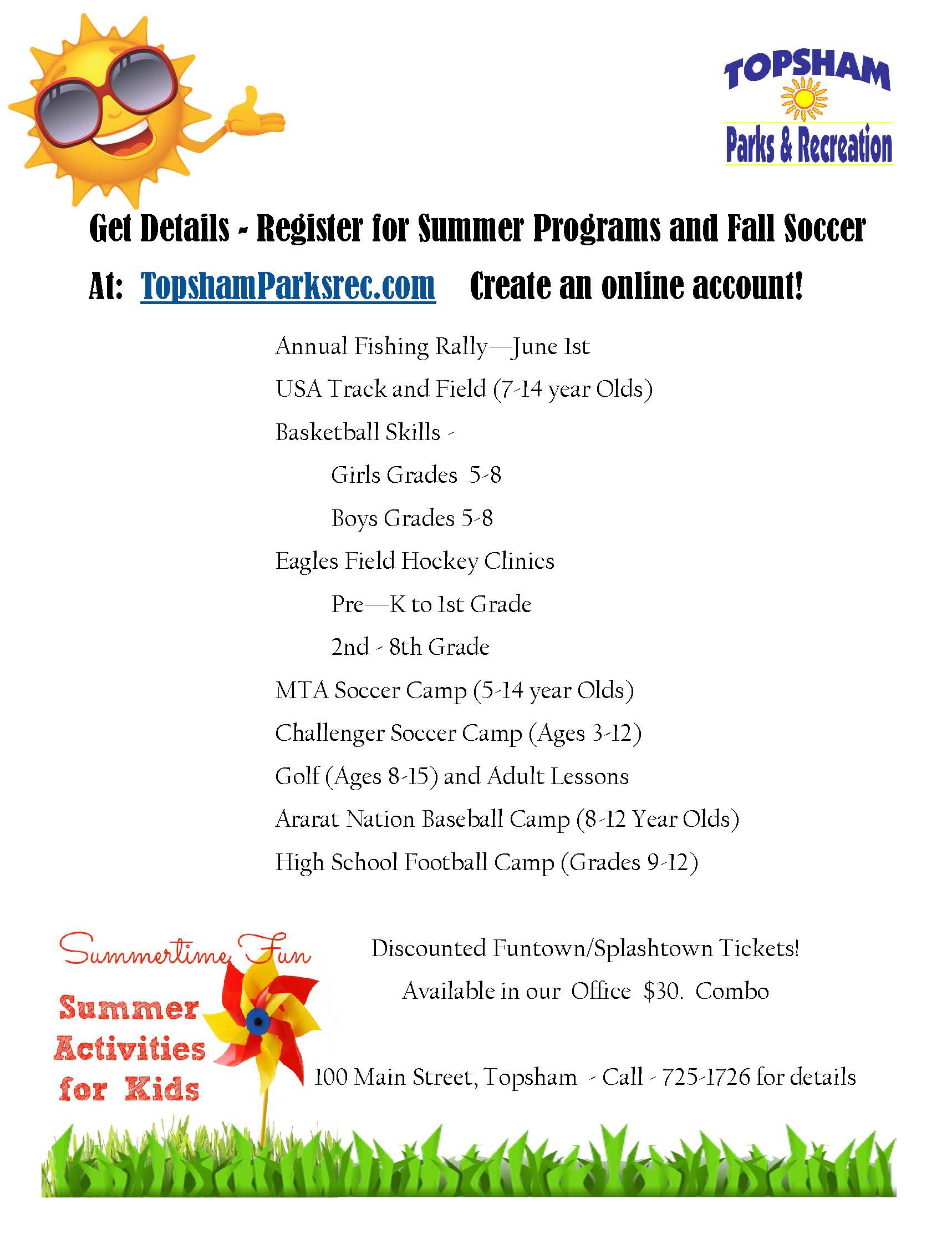 Topsham Recreation - Summer Activities & Fall Soccer