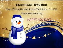 Holiday Hours - Town Office