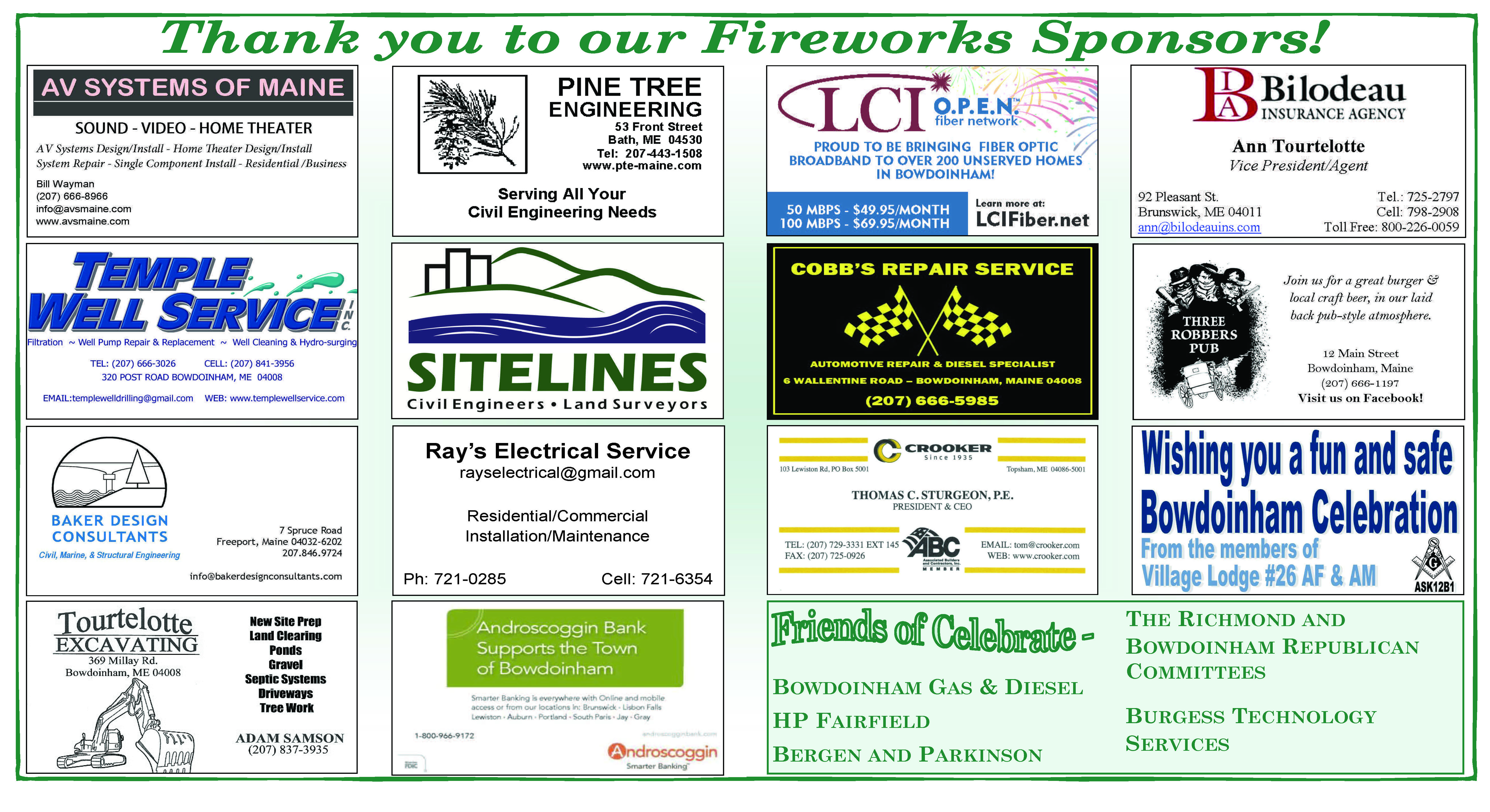 Thank you to our Fireworks Sponsors!